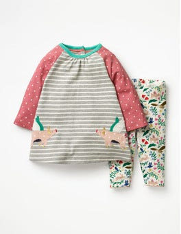 Grey Marl/Ecru Flying Pigs Appliqué Friends Dress Set