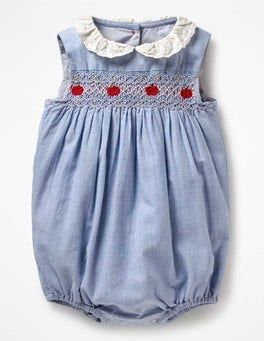 Chambray Blue Nostalgic Smocked Romper