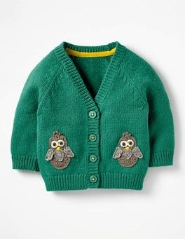 Greenhouse Green Owl Crochet Characters Cardigan