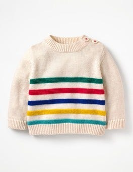 Ecru Marl Fun Stripe Fun Knitted Sweater