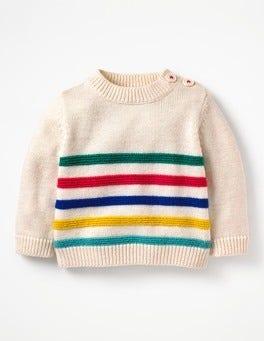 Ecru Marl Fun Stripe Fun Knitted Jumper