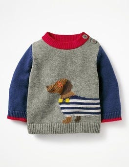 Grey Marl Sausage Dog Fun Knitted Jumper