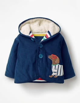 Beacon Blue Sausage Dog Appliqué Cord Jacket