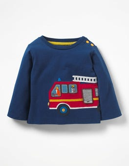 Beacon Blue Fire Engine Transport Appliqué T-shirt