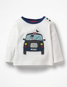 Ecru Taxi Transport Appliqué T-shirt