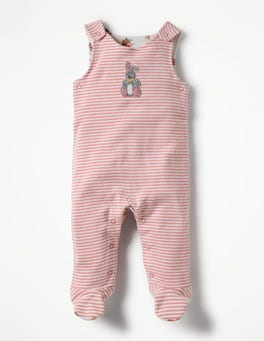 Shell Pink/Ivory Bunny Bunny Appliqué Overalls