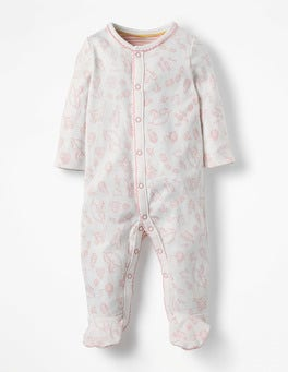 Shell Pink Nursery Pretty Printed Sleepsuit