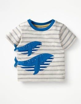 Ivory/Grey Marl Whale Novelty T-shirt