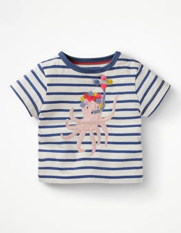 Ivory/Washed Bluebell Octopus Seaside Appliqué T-shirt