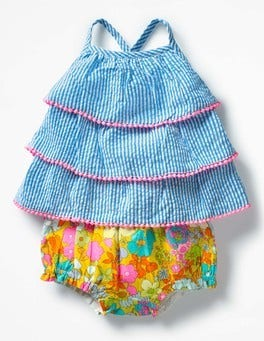 Fluoro Blue Ticking Stripe Tiered Woven Summer Play Set