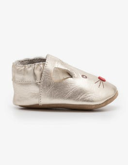 Pale Gold Leather Mouse Shoes