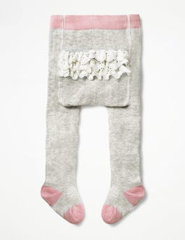 Grey Marl Ruffle Tights
