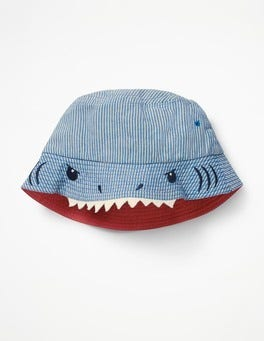 Blue Ticking Stripes Shark Hat