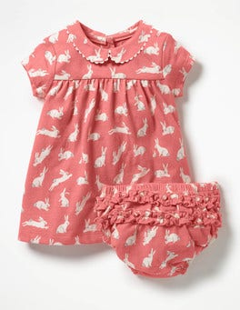 Crab Apple Pink Bunnies Printed Jersey Dress