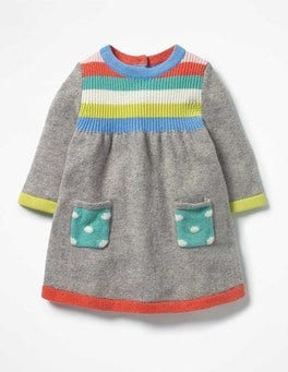 Grey Marl Rainbow Rainbow Knitted Dress