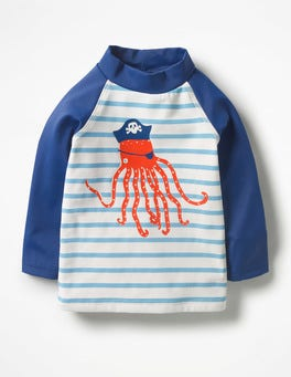 Ivory/Grotto Blue Octopus Sea Creature Rash Guard