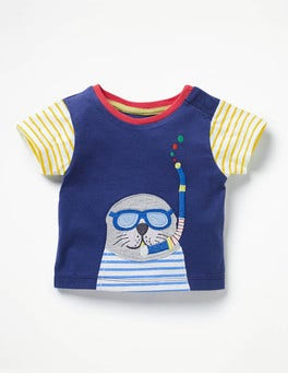 Beacon Blue Snorkeling Seal Big Appliqué T-shirt