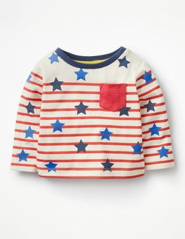 Crayon Red/Ecru Stars Fun Breton T-shirt