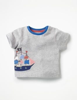 Grey Marl Pirate Ship Sea Adventure T-shirt