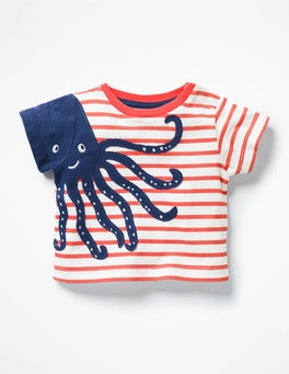 Ecru/Crayon Red Octopus Sea Adventure T-shirt