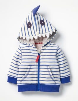 Ecru/Penzance Blue Shark Novelty Zip-up Hoodie