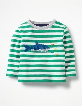 Ecru/Watercress Green Shark Crochet Appliqué T-shirt