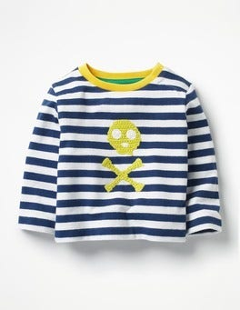 Ecru/Beacon Blue Skull Crochet Appliqué T-shirt