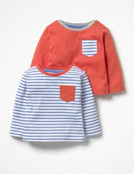 Ecru/Penzance Blue/Crayon Red Twin Pack T-shirts