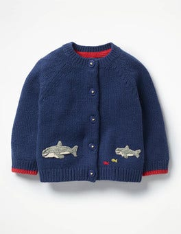 Beacon Blue Sharks Sea Creature Cardigan