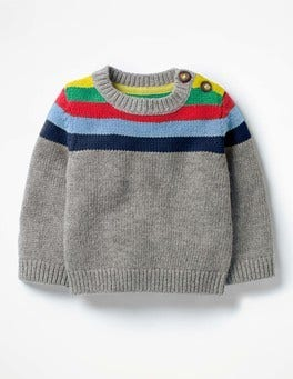 Grey Marl Rainbow Stripy Sweater