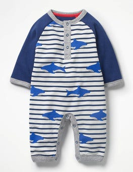 Ecru/Beacon Blue Sharks Cosy All-in-one