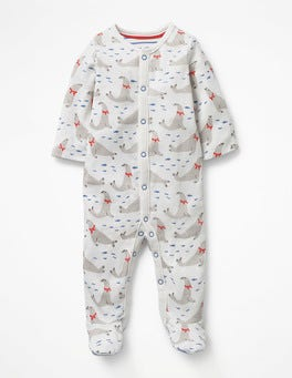 Ivory Seals Snuggly Printed Sleepsuit