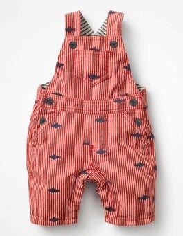 Salsa Red Ticking Stripe Embroidered Overalls