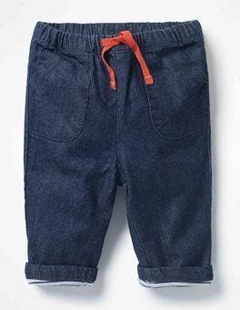 Mid Denim Pull-on Trousers