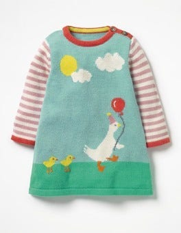Orkney Blue Circus Ducks Ducklings Knitted Dress