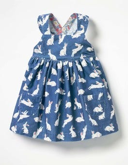 Washed Bluebell Blue Bunnies Ruffly Cord Pinafore