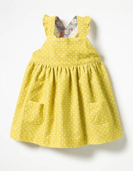 Sweetcorn Yellow Pin Spots Ruffly Cord Pinafore
