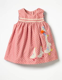 Blossom Pink Spots/Ducks Woven Appliqué Dress