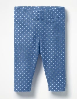 Washed Bluebell Blue Pin Spots Baby Leggings