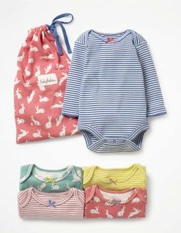 Bunnies/Multicoloured Stripes 5 Pack Patterned Bodies