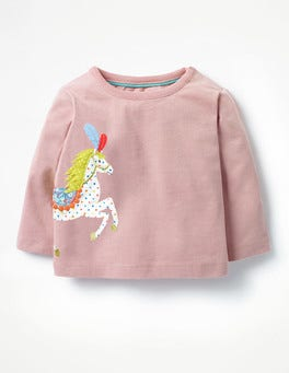 Almond Blossom Pink Horse Animal Appliqué T-shirt