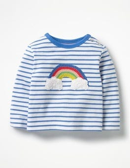 Ecru/Penzance Blue Rainbow Crochet Appliqué T-shirt