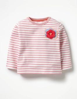 Ecru/Blossom Pink Flower Crochet Appliqué T-shirt