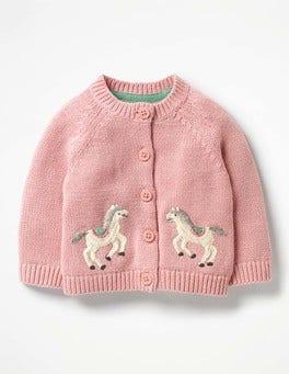 Almond Blossom Pink Ponies Crochet Pony Cardigan