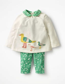 Ecru/Green Coastal Toile Birds Animal Jersey Play Set