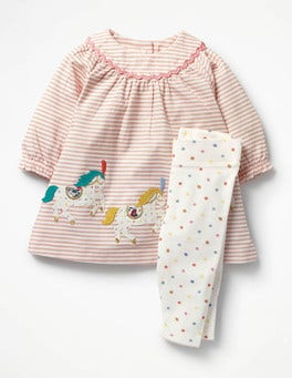 Provence Dusty Pink Horses Appliqué Dress & Leggings Set