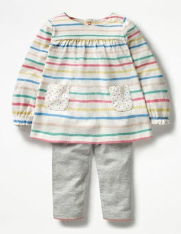 Multicoloured Stripes Printed Jersey Play Set