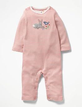 Shell Pink/Ivory Bunny Farmyard Appliqué Romper