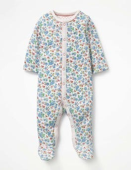 Ivory Summer Floral Pretty Printed Sleepsuit