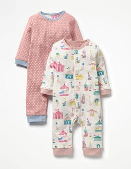 Multi Circus/Stripe Twin Pack Cosy Rompers